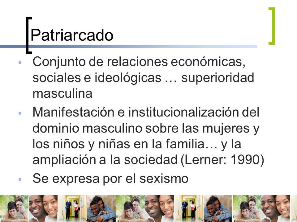 Patriarcado Conjunto de relaciones económicas, sociales e ideológicas … superioridad masculina.