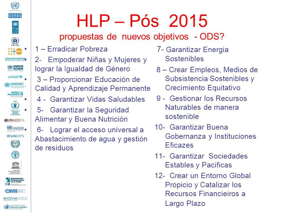 HLP – Pós 2015 propuestas de nuevos objetivos - ODS