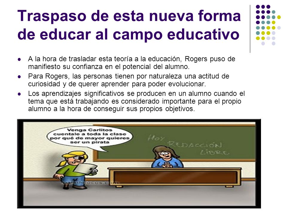 Traspaso de esta nueva forma de educar al campo educativo