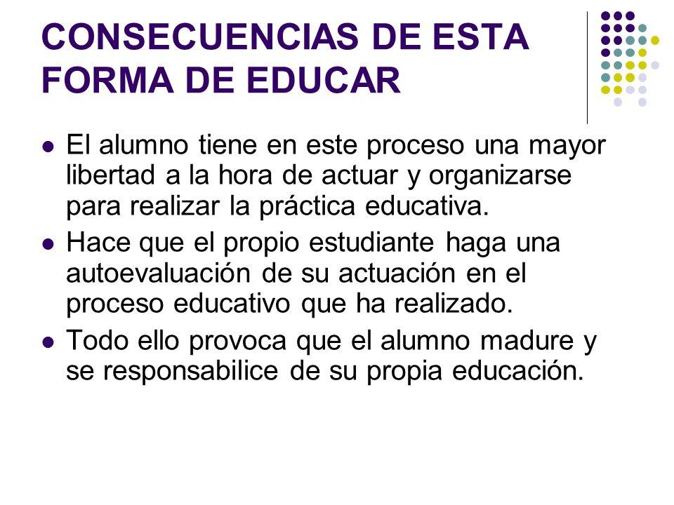 CONSECUENCIAS DE ESTA FORMA DE EDUCAR