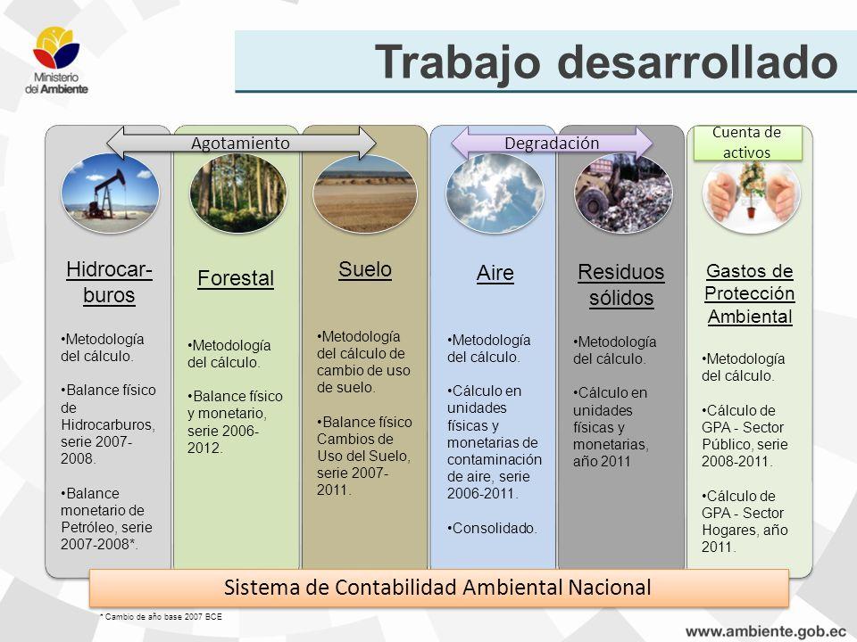 Trabajo desarrollado Sistema de Contabilidad Ambiental Nacional