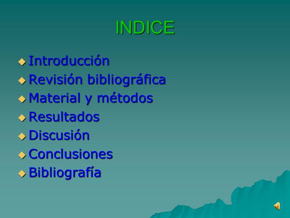 INDICE Introducción Revisión bibliográfica Material y métodos