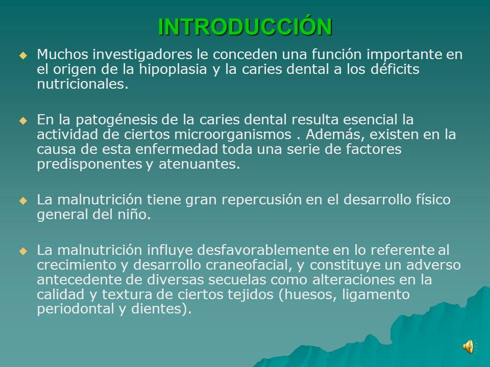 INTRODUCCIÓN Muchos investigadores le conceden una función importante en el origen de la hipoplasia y la caries dental a los déficits nutricionales.