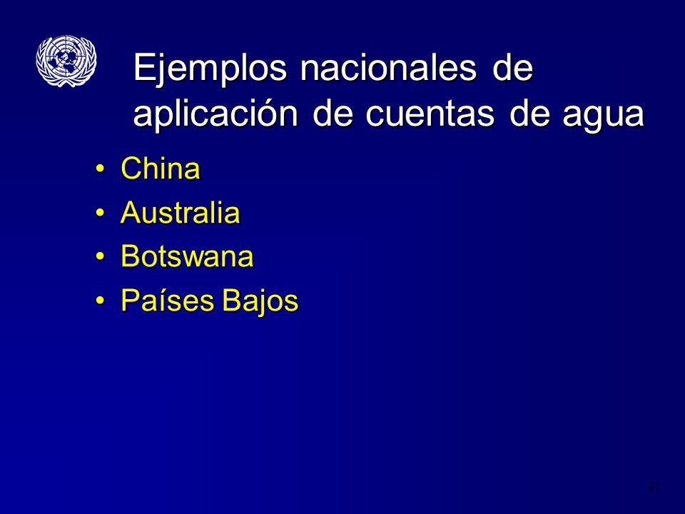 Ejemplos nacionales de aplicación de cuentas de agua