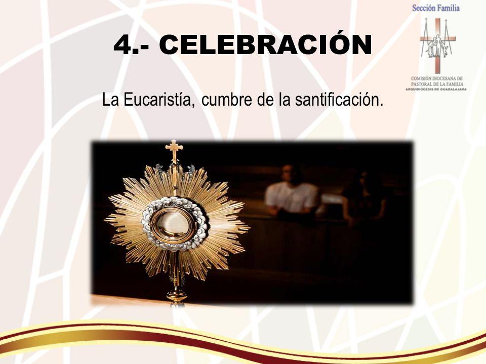La Eucaristía, cumbre de la santificación.