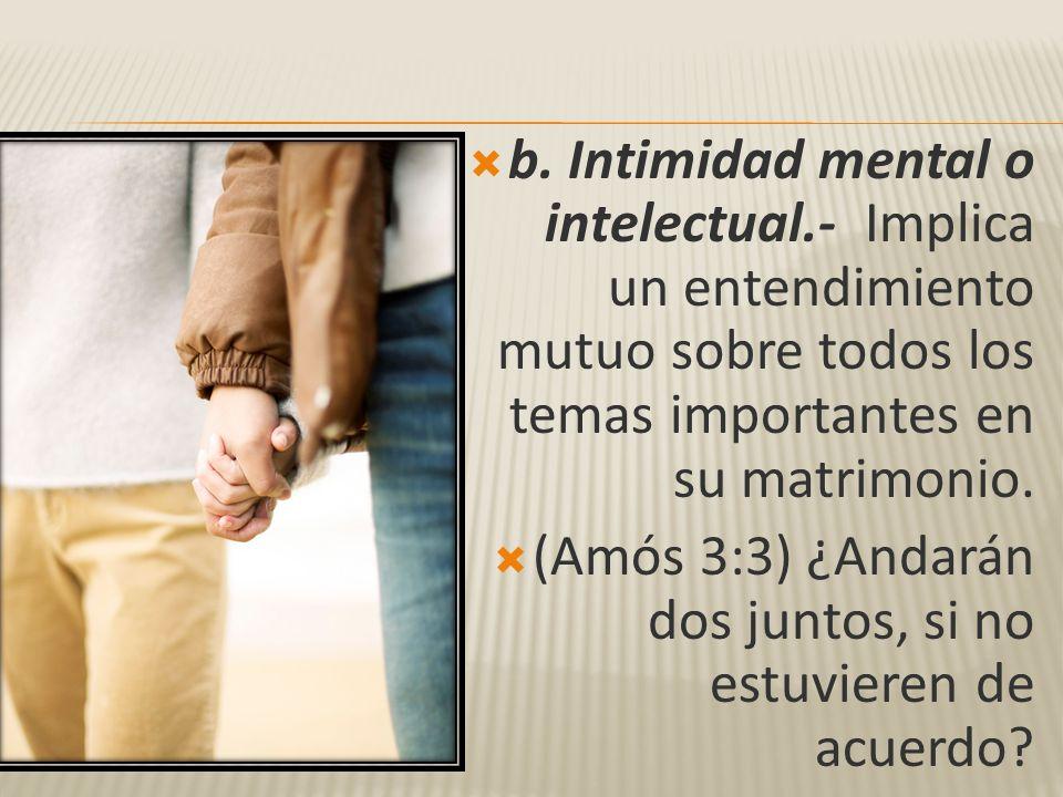 b. Intimidad mental o intelectual