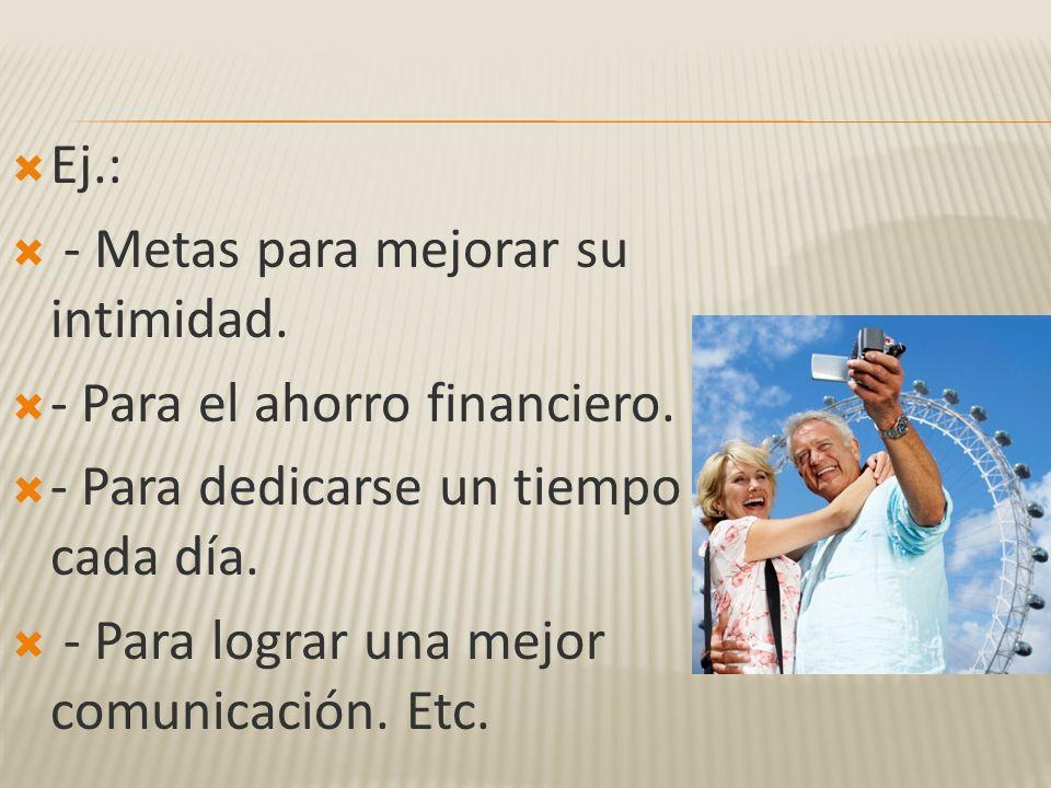 Ej.: - Metas para mejorar su intimidad. - Para el ahorro financiero. - Para dedicarse un tiempo cada día.