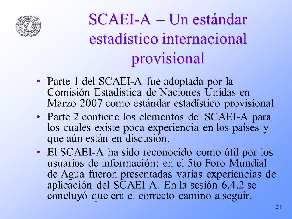 SCAEI-A – Un estándar estadístico internacional provisional