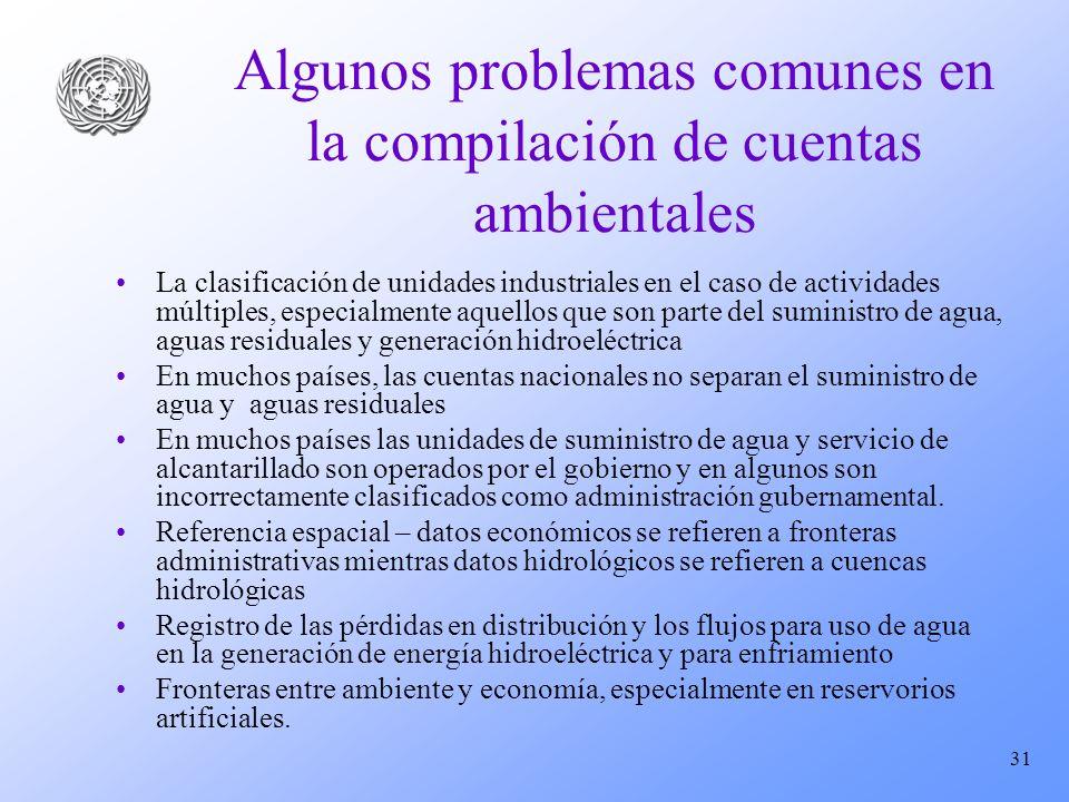 Algunos problemas comunes en la compilación de cuentas ambientales