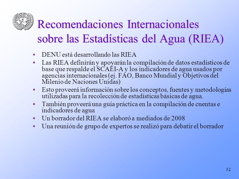 Recomendaciones Internacionales sobre las Estadísticas del Agua (RIEA)