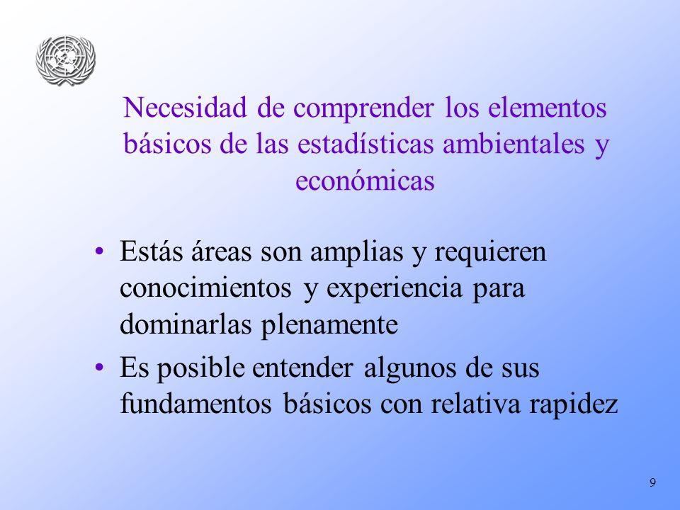 Necesidad de comprender los elementos básicos de las estadísticas ambientales y económicas