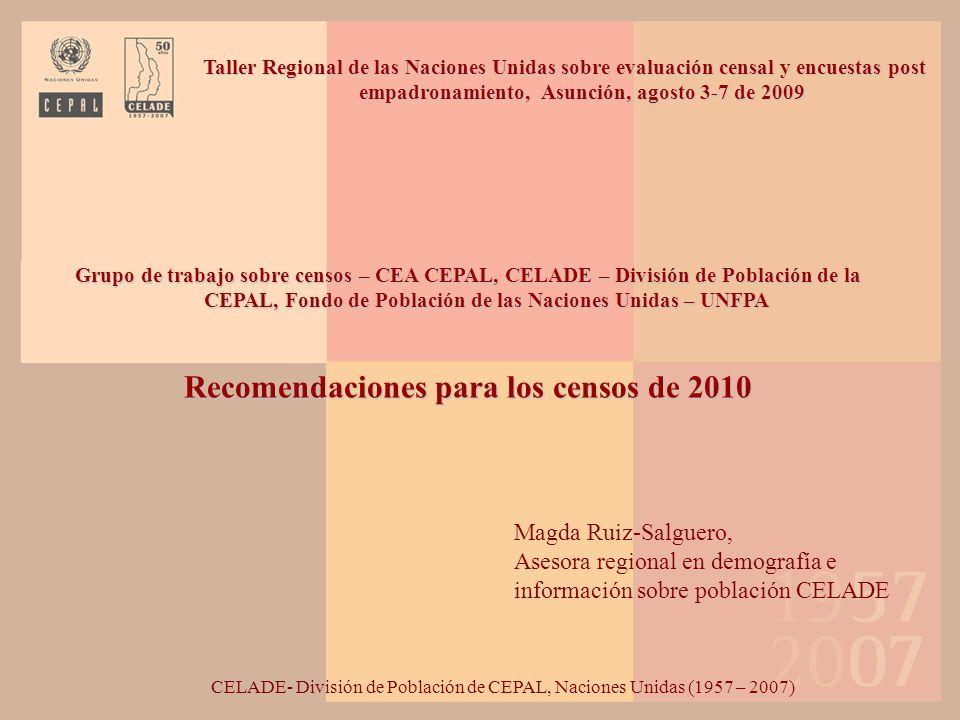 Recomendaciones para los censos de 2010