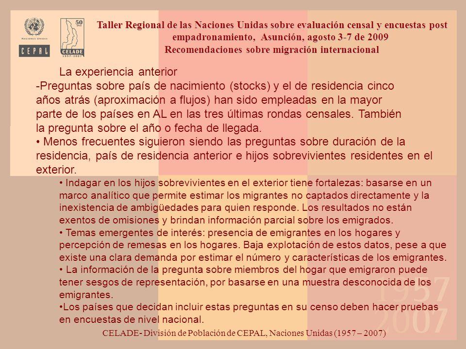 Recomendaciones sobre migración internacional
