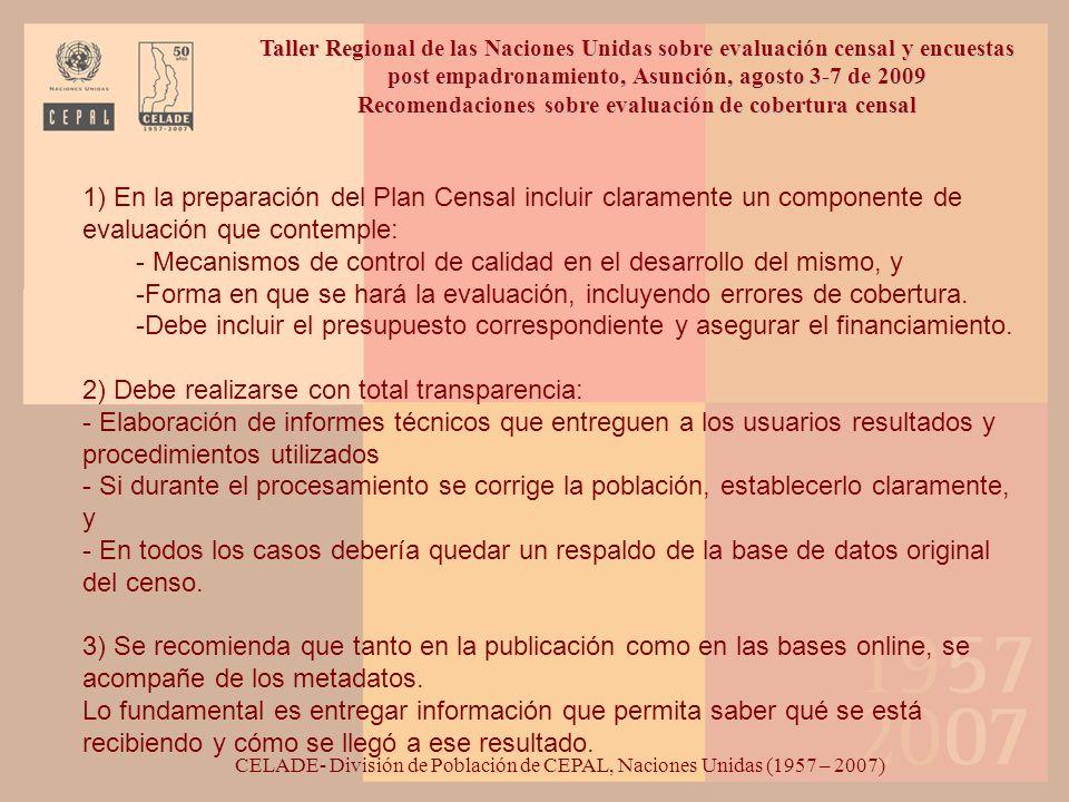 Recomendaciones sobre evaluación de cobertura censal