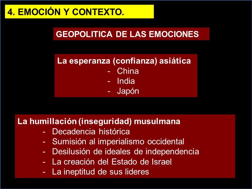 4. EMOCIÓN Y CONTEXTO. GEOPOLITICA DE LAS EMOCIONES