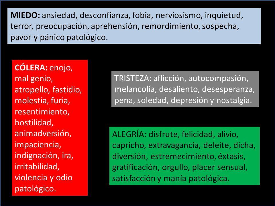 MIEDO: ansiedad, desconfianza, fobia, nerviosismo, inquietud, terror, preocupación, aprehensión, remordimiento, sospecha, pavor y pánico patológico.