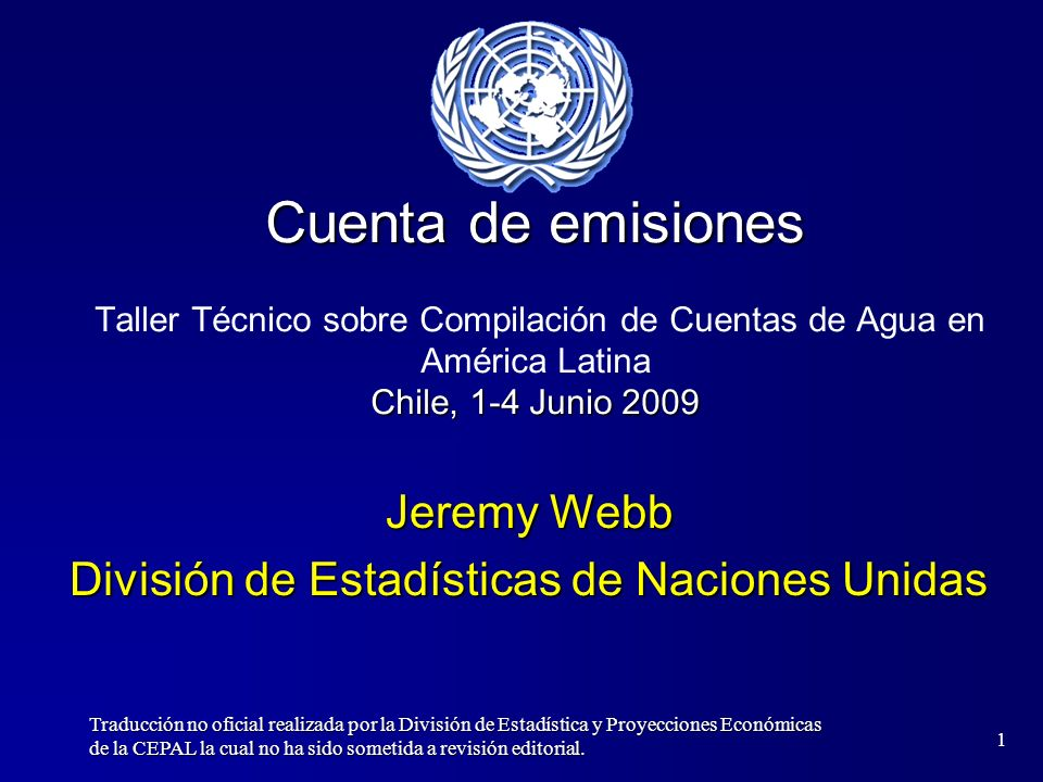 Jeremy Webb División de Estadísticas de Naciones Unidas