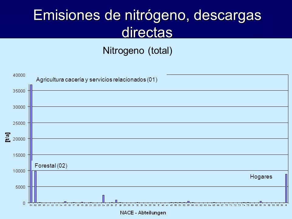Emisiones de nitrógeno, descargas directas