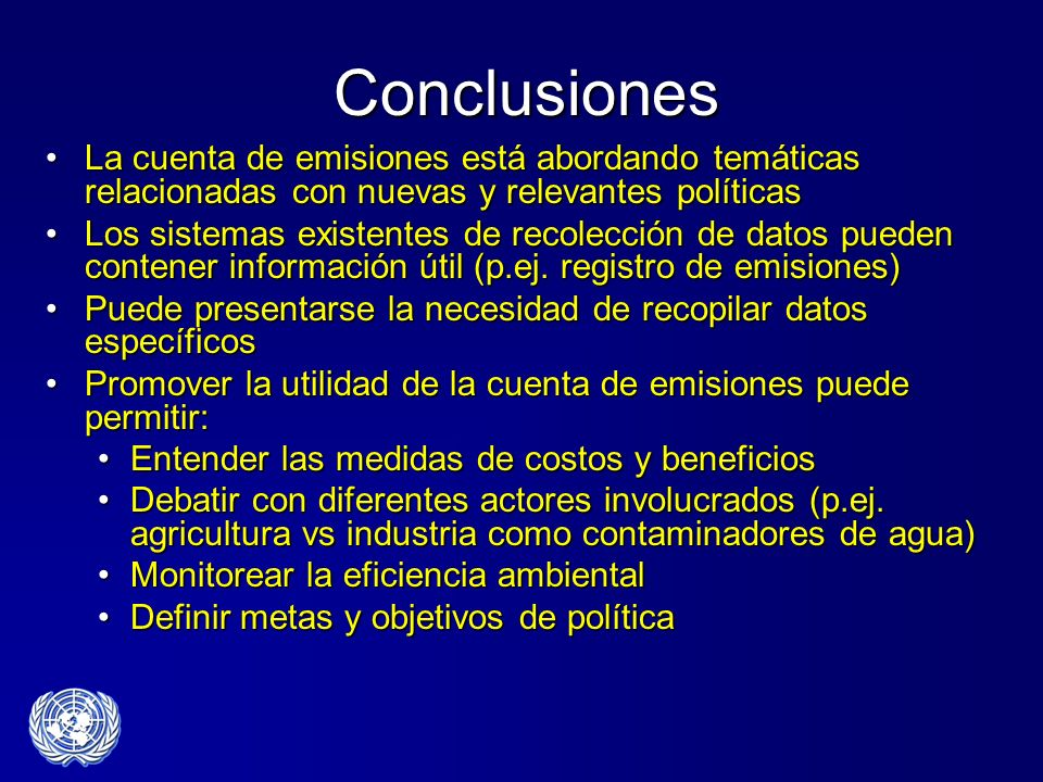 Conclusiones La cuenta de emisiones está abordando temáticas relacionadas con nuevas y relevantes políticas.