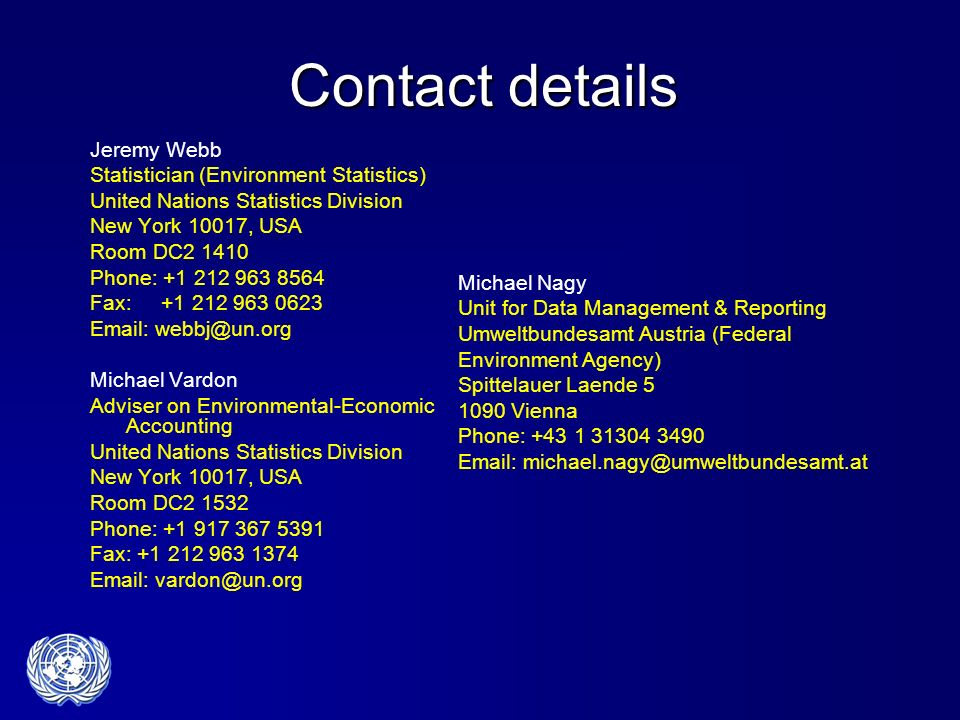 Contact details Jeremy Webb Statistician (Environment Statistics)