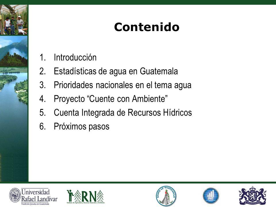 Contenido Introducción Estadísticas de agua en Guatemala