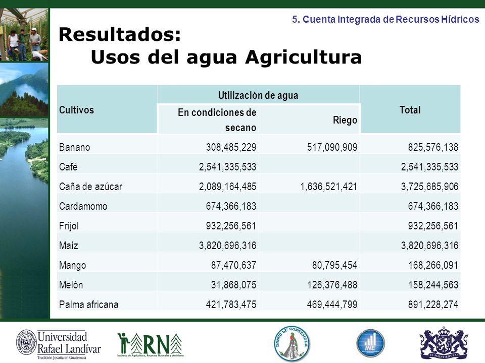 Resultados: Usos del agua Agricultura
