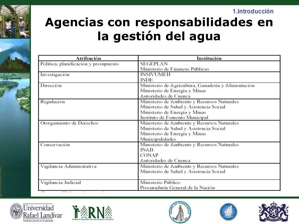 Agencias con responsabilidades en la gestión del agua