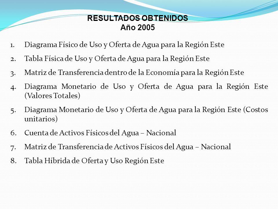 RESULTADOS OBTENIDOS Año 2005. Diagrama Físico de Uso y Oferta de Agua para la Región Este.