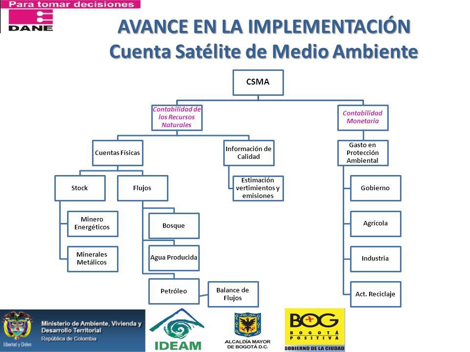 AVANCE EN LA IMPLEMENTACIÓN Cuenta Satélite de Medio Ambiente