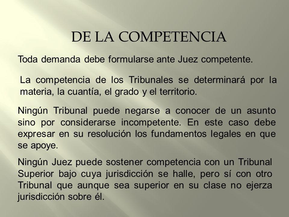 DE LA COMPETENCIA Toda demanda debe formularse ante Juez competente.