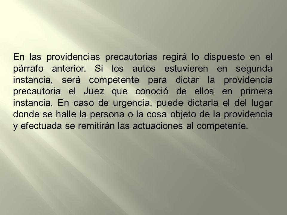 En las providencias precautorias regirá lo dispuesto en el párrafo anterior.
