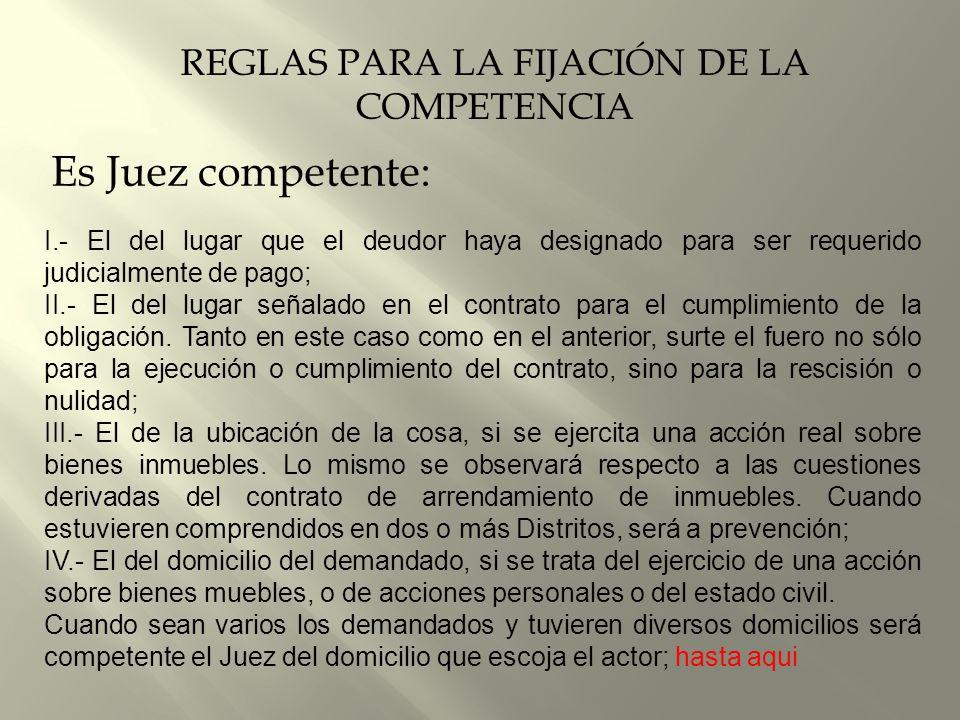 REGLAS PARA LA FIJACIÓN DE LA COMPETENCIA
