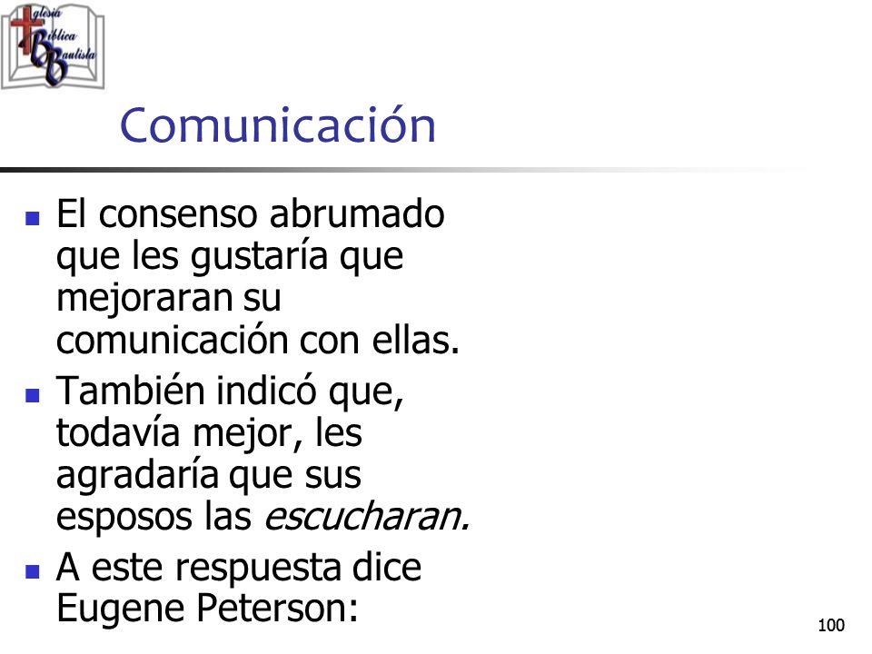Comunicación El consenso abrumado que les gustaría que mejoraran su comunicación con ellas.