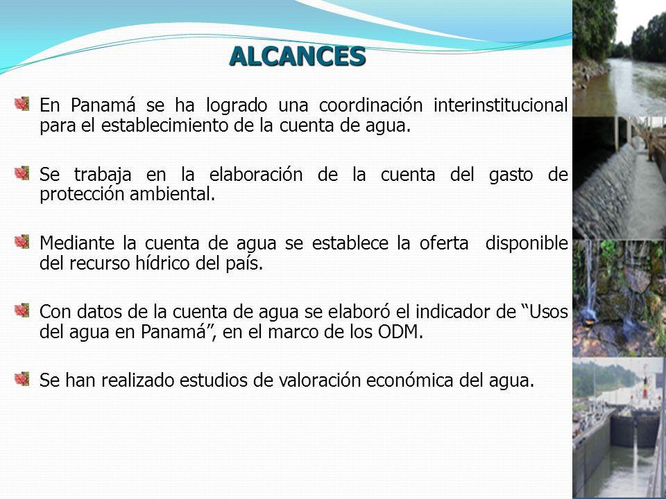 ALCANCES En Panamá se ha logrado una coordinación interinstitucional para el establecimiento de la cuenta de agua.