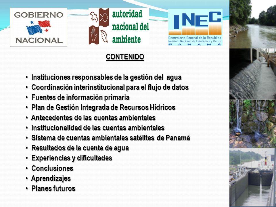 CONTENIDO Instituciones responsables de la gestión del agua. Coordinación interinstitucional para el flujo de datos.