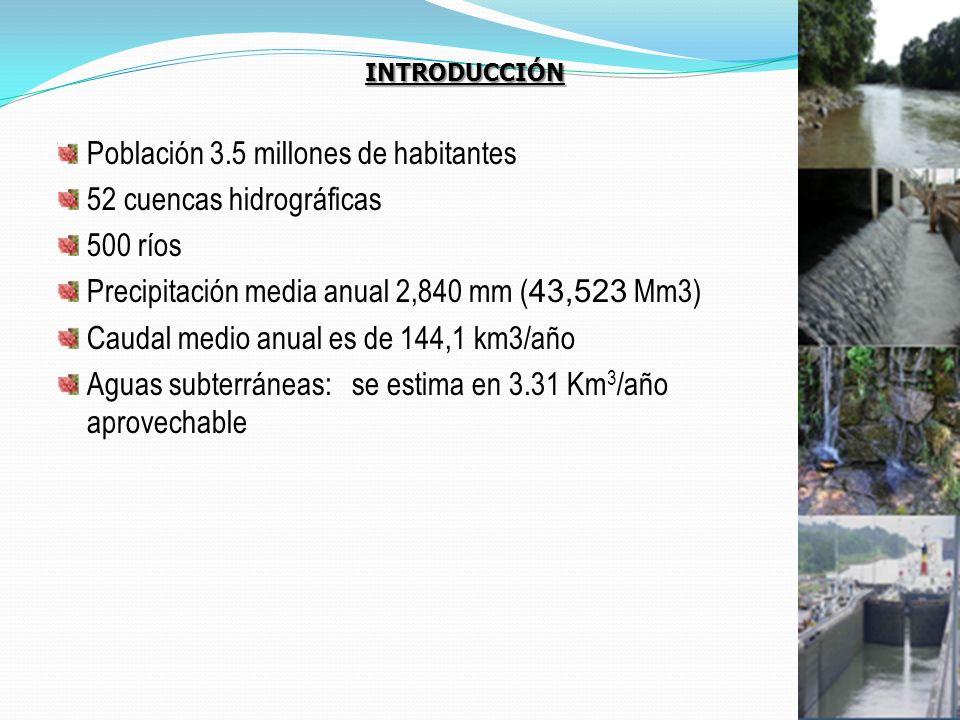 Población 3.5 millones de habitantes 52 cuencas hidrográficas 500 ríos