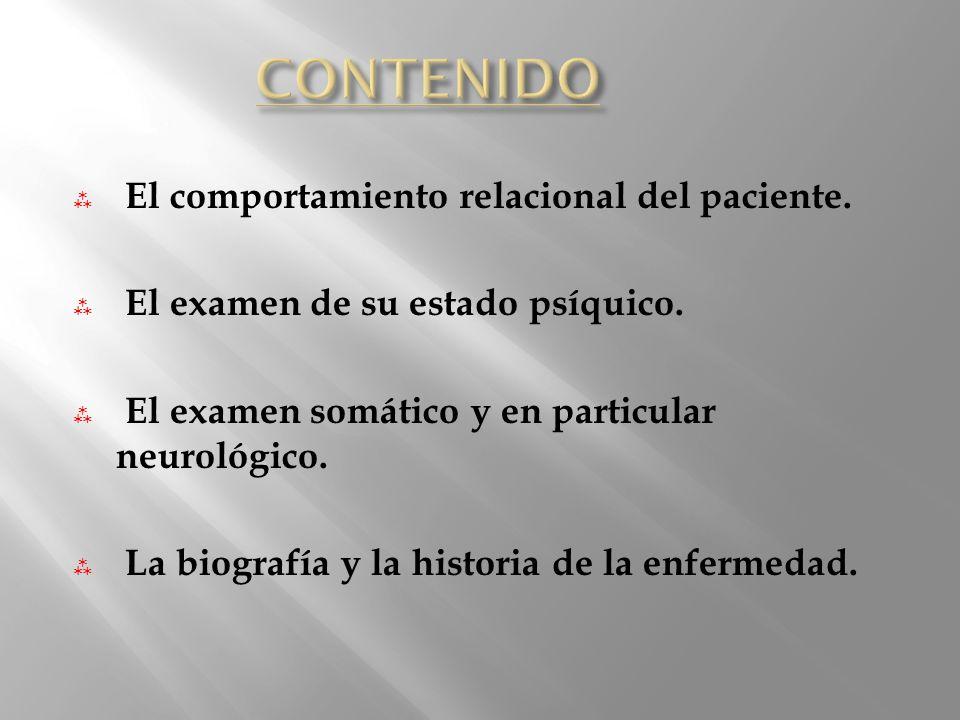 CONTENIDO El comportamiento relacional del paciente.