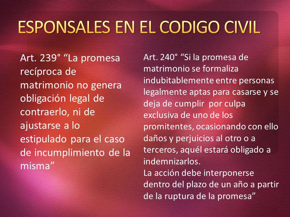 ESPONSALES EN EL CODIGO CIVIL