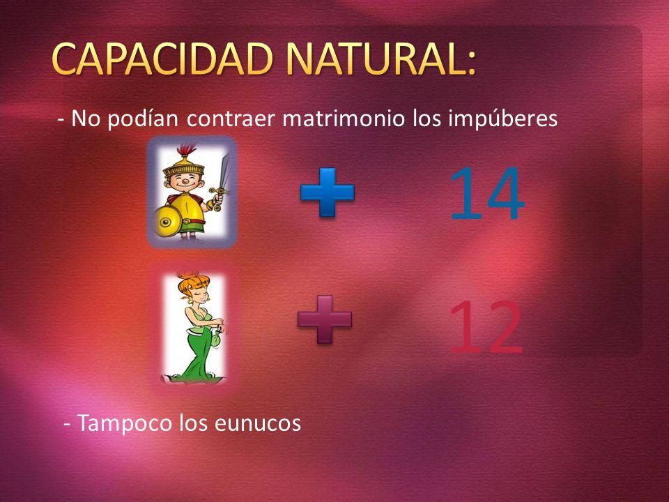 14 12 CAPACIDAD NATURAL: - No podían contraer matrimonio los impúberes