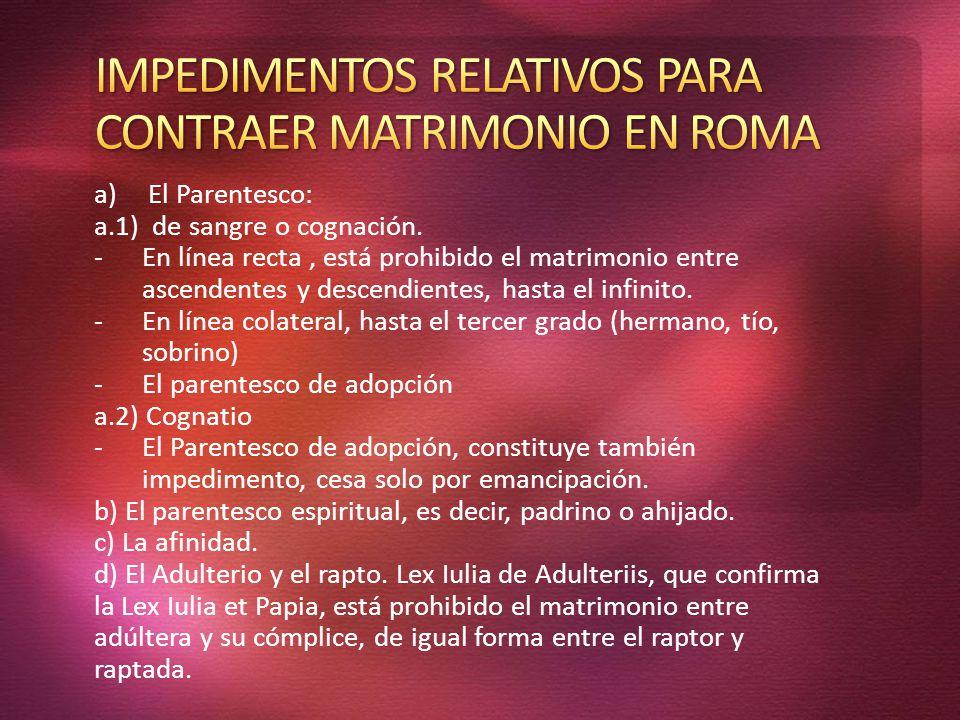 IMPEDIMENTOS RELATIVOS PARA CONTRAER MATRIMONIO EN ROMA