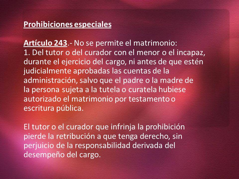 Prohibiciones especiales