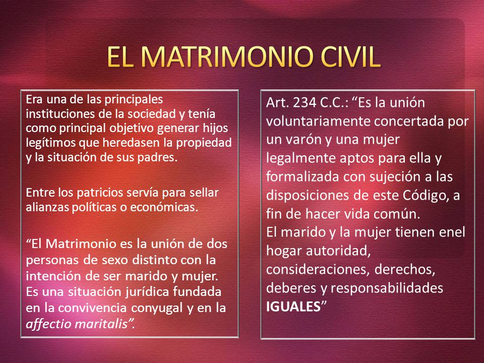 EL MATRIMONIO CIVIL