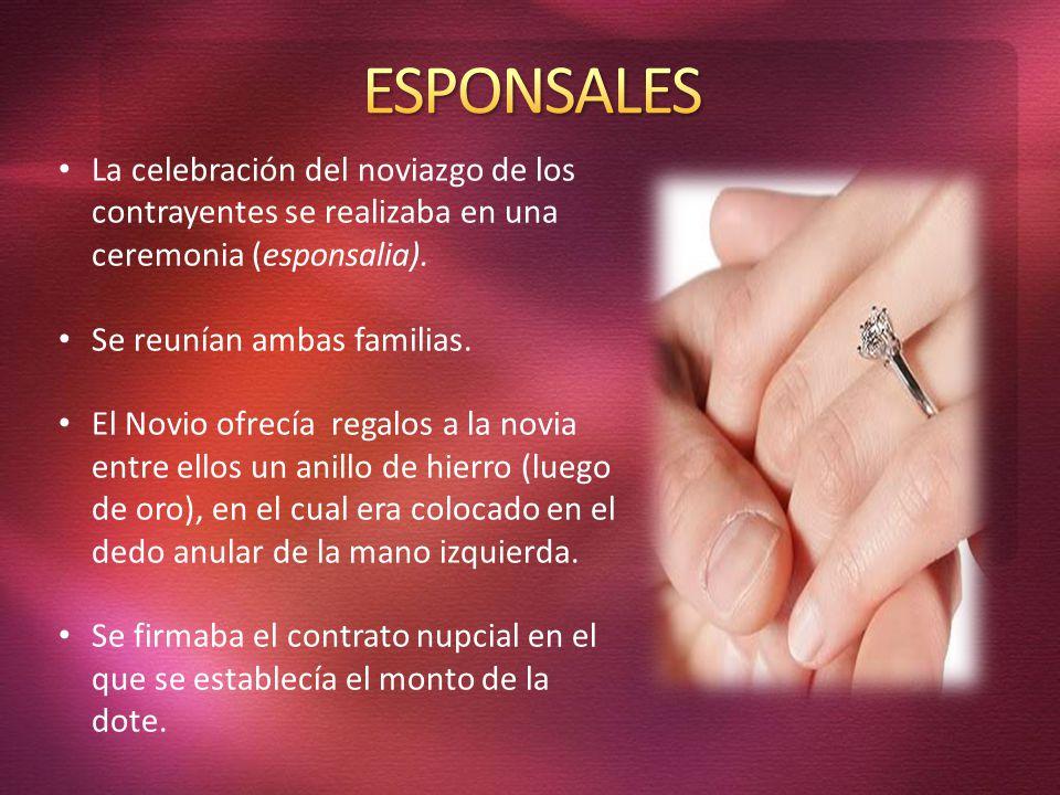 ESPONSALES La celebración del noviazgo de los contrayentes se realizaba en una ceremonia (esponsalia).