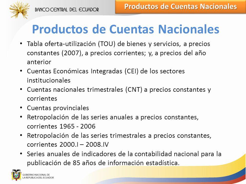 Productos de Cuentas Nacionales Productos de Cuentas Nacionales