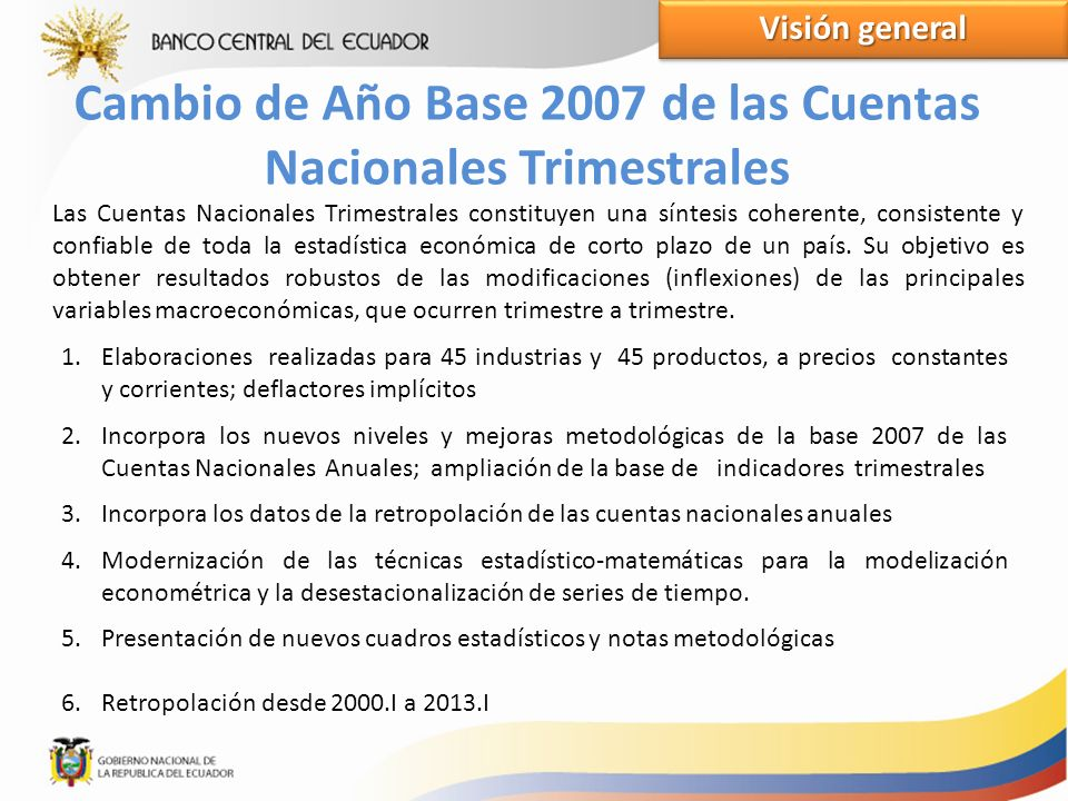 Cambio de Año Base 2007 de las Cuentas Nacionales Trimestrales