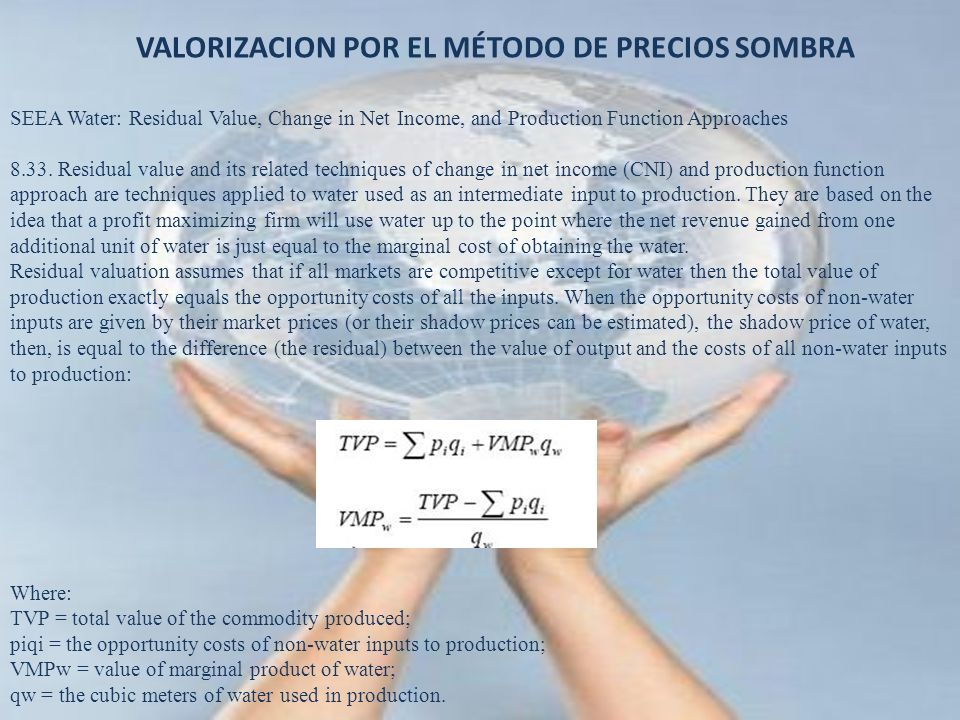 VALORIZACION POR EL MÉTODO DE PRECIOS SOMBRA
