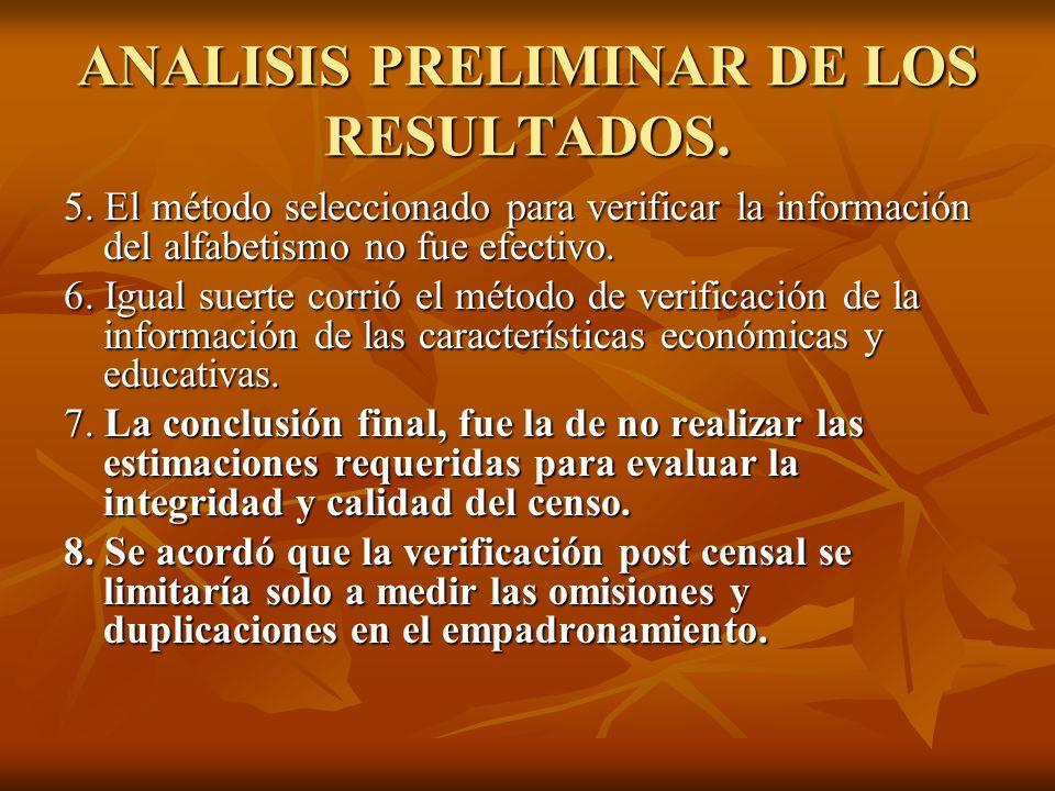ANALISIS PRELIMINAR DE LOS RESULTADOS.