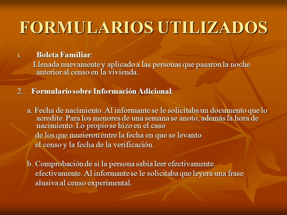 FORMULARIOS UTILIZADOS