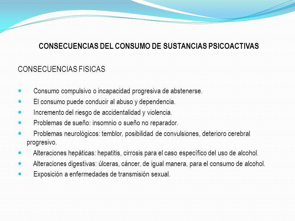 CONSECUENCIAS DEL CONSUMO DE SUSTANCIAS PSICOACTIVAS