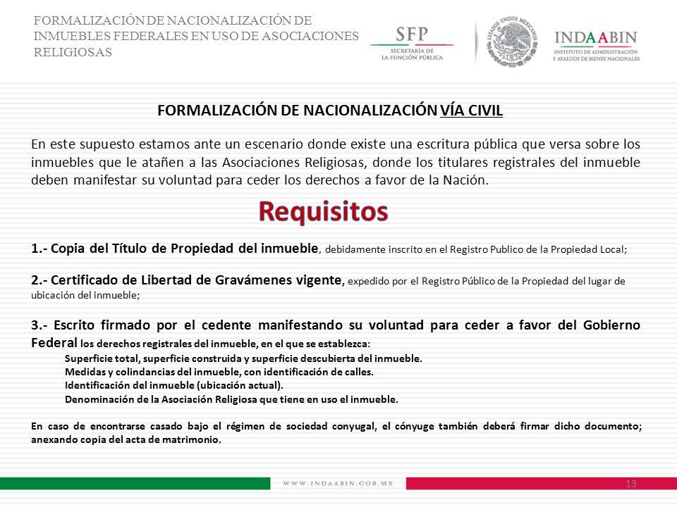 FORMALIZACIÓN DE NACIONALIZACIÓN VÍA CIVIL